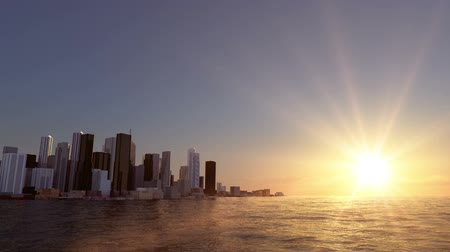 belvárosi kerület : view of the city on the bay. Beautifull sunset. Realistic water animation