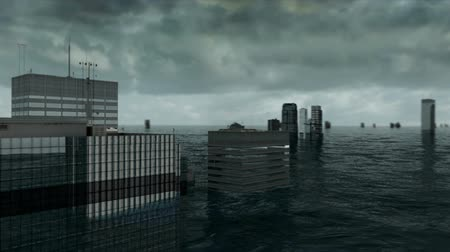 apocalyptic : Apocalyptic water view. urban flood. Storm. 3d animation