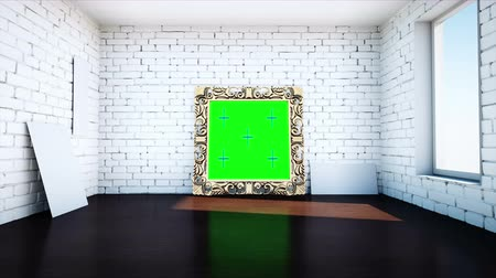 rama obrazu : gold antique frame in white  brick room. Green screen tracking footage