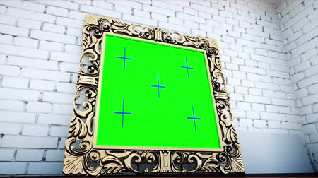 wall paper : gold antique frame in white  brick room. Green screen tracking footage