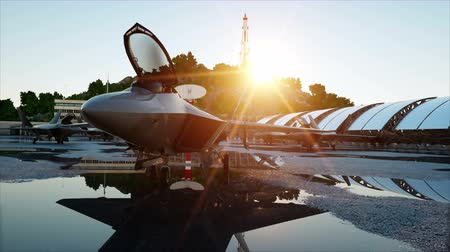 lutador : Military fighter jet. military base. sunset. 3d animation.
