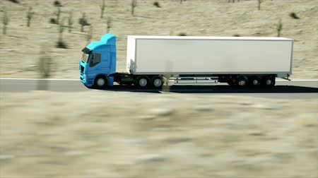 грузовик : Truck on the road, highway. Transports, logistics concept. super realistic animation with physiks motion. Стоковые видеозаписи