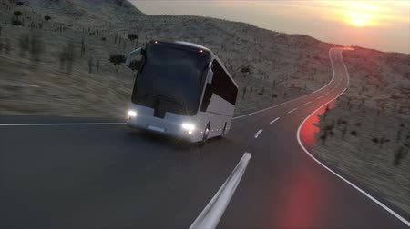 bok : Bus on the road, highway. Very fast driving. Super realistic animation.