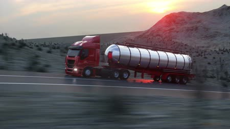 benzin : Gasoline tanker, Oil trailer, truck on highway. Very fast driving. Realistic auto animation. Stok Video