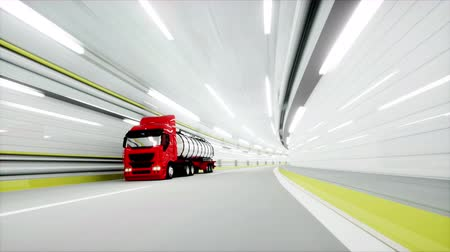 benzin : red Gasoline tanker in a tunnel. fast driving. oil concept. 3d rendering.