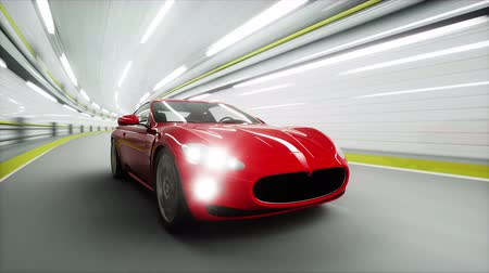 гонка : red sport car in a tunnel. fast driving. 3d animation. Стоковые видеозаписи
