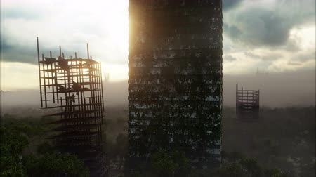 földrengés : Apocalypse city in fog. Aerial View of the destroyed city. Apocalypse concept. Super realistic 4k animation.
