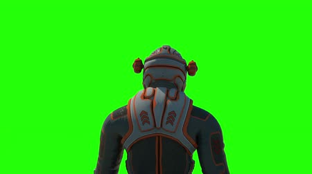 Astronaut walking animation on green screen. Martian.