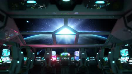 alienígena : space ship futuristic interior. Sunrise view from cabine. Galactic travel concept.