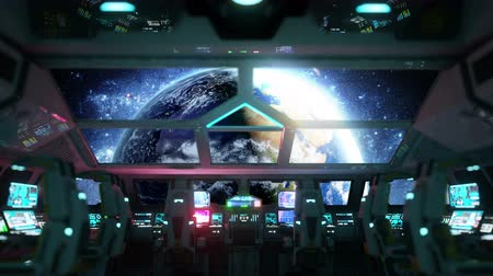 alienígena : space ship futuristic interior. Earth view from cabine. Galactic travel concept.