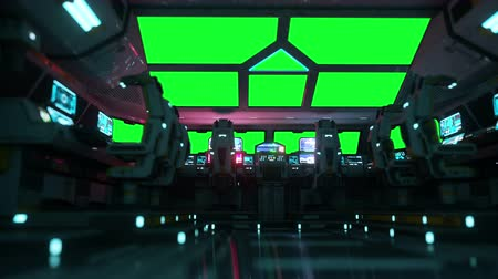 alienígena : space ship futuristic interior. Cabine view. Green screen footage.