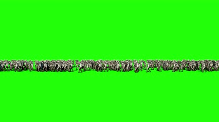 fantasma : A large crowd of zombies. Apocalypse, halloween concept. 4K green screen animation.