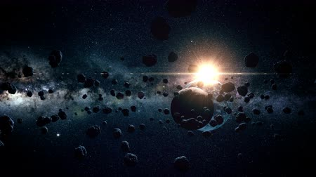 maravilha : flight through meteorites. a wonderful sunshine. space. moon