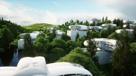 kitalálás : futuristic city, village. The concept of the future. Aerial view. Realistic 4k animation.