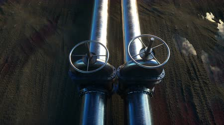 rurociąg : Pipeline transportation oil, natural gas or water in metal pipe. Oil concept. Realistic cinematic 4K animation. Wideo