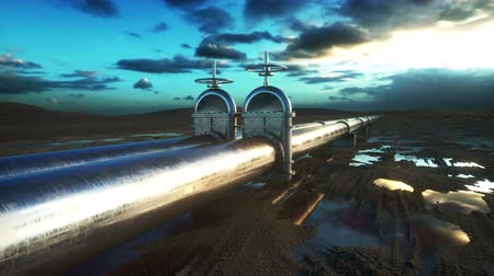 ellát : Pipeline transportation oil, natural gas or water in metal pipe. Oil concept. Realistic cinematic 4K animation. Stock mozgókép