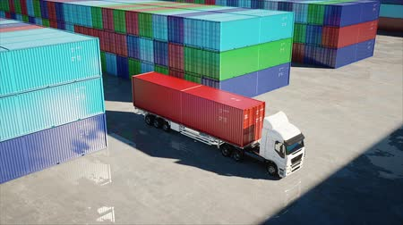 mezinárodní : Truck in container depot, wharehouse, seaport. Cargo containers. Logistic and business concept. Realistic 4k animation.