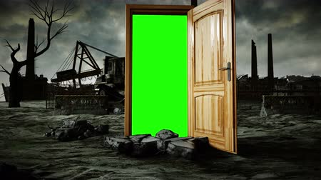 garip : Flight through an open door. Portal through ecological catastrophe, apocalypse. Green screen. Realistic 4k animation.
