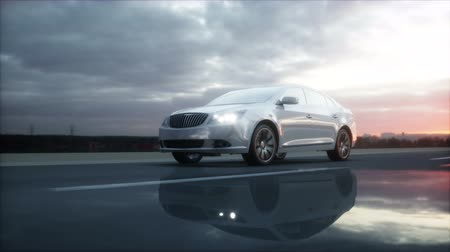 asphalt road : Luxury white car on highway, road. Very fast driving. Wonderfull sunset. Travel and motivation concept. Realistic 4k animation Stock Footage