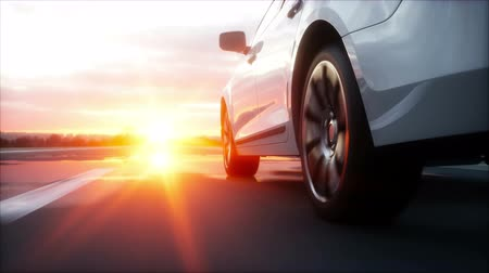 Luxury white car on highway, road. Very fast driving. Wonderfull sunset. Travel and motivation concept. Realistic 4k animation Vídeos
