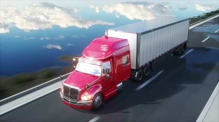 camionagem : semi trailer, Truck on the road, highway. Transports, logistics concept. 4K realistic animation.