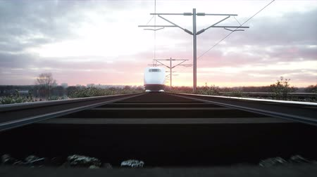 modern train wagon : Electric passenger train. Very fast driving. journey and travel concept. Realistic 4k animation.