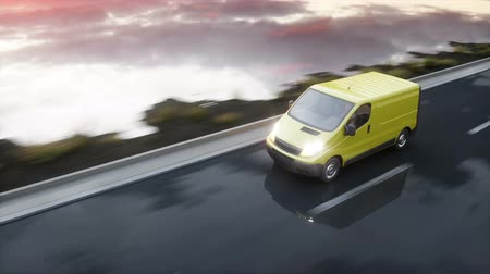 kurier : Yellow delivery van on highway. Very fast driving. Transport and logistic concept. Realistic 4k animation.