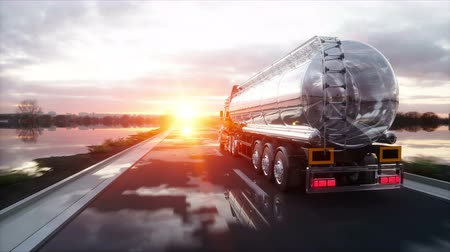 трейлер : Gasoline tanker, Oil trailer, truck on highway. Very fast driving. Realistic 4K animation.