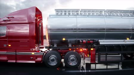 řidič : Gasoline tanker, Oil trailer, truck on highway. Very fast driving. Realistic 4K animation.