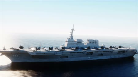 lutador : Aircraft carrier in sea, ocean with fighter. War and weapon concept. Realistic 4k animation.