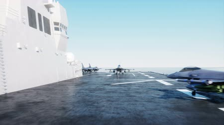 donanma : landing jet f16 on aircraft carrier in ocean. Military and war concept. Realistic 4k animation.