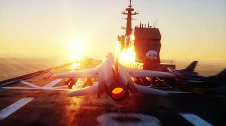 истребитель : landing jet on aircraft carrier in ocean. Military and war concept. Realistic 4k animation.