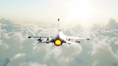 авиашоу : Jet f16, fighter flying over clouds . War and weapon concept. Realistic 4k animation. Стоковые видеозаписи