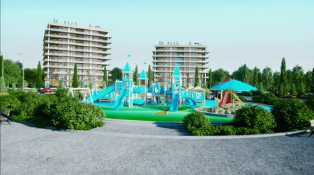 City, playground architectural 3d visualization. Realistic 4k animation.