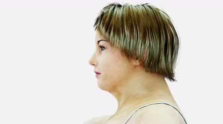 Fat women. Slimming and obesity process. Diet and health concept. Isolate. Realistic 4k animation.