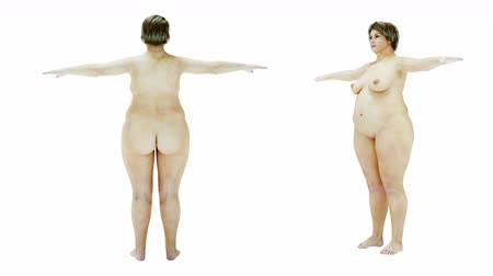 Fat nude women. Slimming and obesity process. Women weight loss success. Diet and health concept. Isolate. realistic 4k animation.