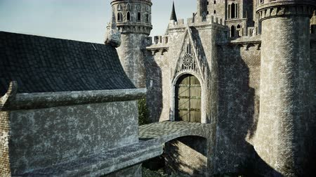 enchanted princess : Old fairytale castle on the hill. aerial view. Realistic 4k animation.