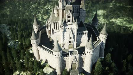 mese : Old fairytale castle on the hill. aerial view. Realistic 4k animation.