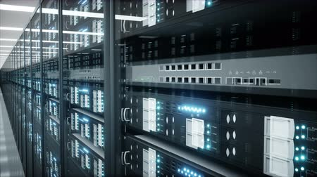 interior of server room in datacenter. The flying camera. Realistic 4k animation.