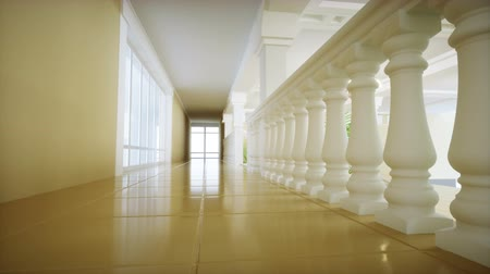 Luxury large white marble staircase of theatre. Hall of the palace. Realistic 4k animation.