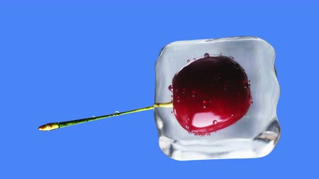 Cherry rotate in ice cubes. Food and broadcast concept. Realistic ice materials. 4K animation. green screen.