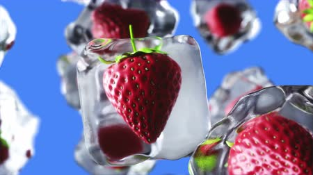 ovocný : strawberry rotate in ice cubes. Food and broadcast concept. Realistic ice materials. 4K animation. green screen.
