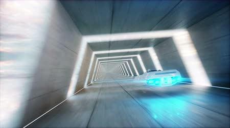 perspectives : futuristic flying car with woman fast driving in sci fi tunnel, coridor. Concept of future. Realistic 4k animation.