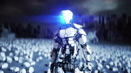 ポスト : military robot and skulls of people. Dramatic apocalypse super realistic concept. Rise of the Machines. Dark future.
