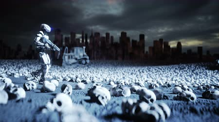 восстание : military robot and skulls of people. Dramatic apocalypse super realistic concept. Rise of the Machines. Dark future.