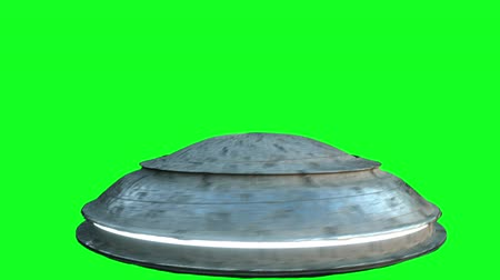 侵略 : Flying saucer isolate on green screen. UFO. Realistic shaders and motion blur. 4K animation.