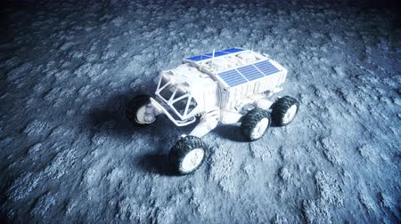 lunar surface : Moon vehicle on the moon. space expedition. Earth background. Super realistic 3d animation.