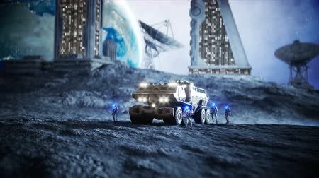 ficção : Military car on moon with robots. Moon colony. Earth backround. Realistic 4K animation.