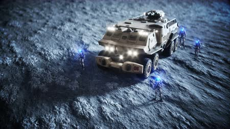 lunar : Military car on moon with robots. Moon colony. Earth backround. Realistic 4K animation.