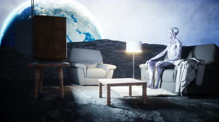 paranormaal : funny alien watching TV on the sofa on the moon. Living on the moon concept. Earth background. 3d rendering.